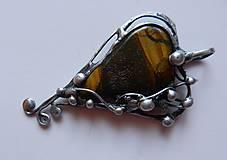 Náhrdelníky - Cínované srdce-Tigrie oko - 10746857_