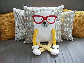 Textil - Vankúšik macko s okuliarmi - 10745236_