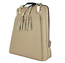 Batohy - Kožený ruksak z pravej hovädzej kože v khaki farbe - 10744962_