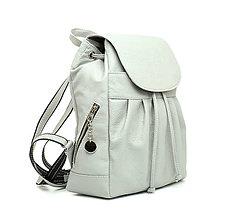 Batohy - Dámsky kožený módny ruksak z prírodnej kože v šedej farbe - 10744977_
