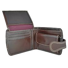 Peňaženky - Kožená dámska elegantná peňaženka, tmavo hnedá - 10746369_