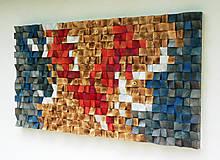 Dekorácie - Závesný drevený mozaikový 3D obraz XXL - vzor 1 - 10748001_