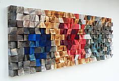 Dekorácie - Závesný drevený mozaikový 3D obraz - vzor 4 - 10748142_
