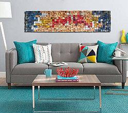 Dekorácie - Závesný drevený mozaikový 3D obraz XL - vzor 2 - 10747976_