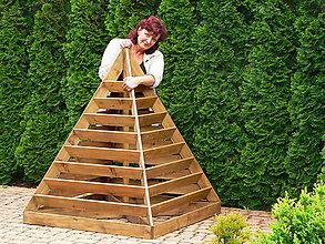 Nádoby - Drevený pyramidový kvetináč XL - 10748231_