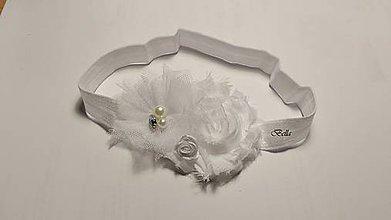 Ozdoby do vlasov - Biela čelenka na krst - 10746301_