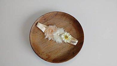 Detské doplnky - Béžová kvetovaná čelenka - 10746614_