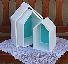 Nábytok - Domčekopoličky v bielo - modrej kombinácií - 10747098_