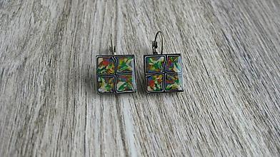 Náušnice - Mozaikové štvorce, č. 2688 - 10746800_