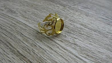 Komponenty - Filigránový prsteň s lôžkom, 1 ks (farba zlatá) - 10746057_