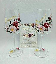 Darčeky pre svadobčanov - Svadobné poháre maľované - 10747030_