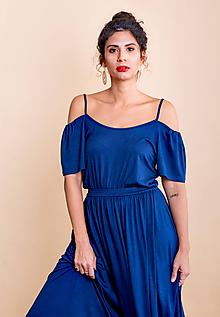 Šaty - dlhé šaty s odhalenými ramenami - 10748247_