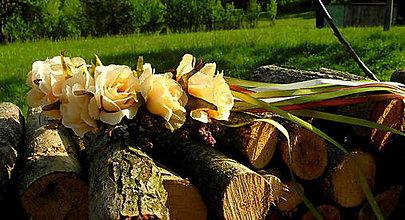 Ozdoby do vlasov - Krémová ruža - 10745493_