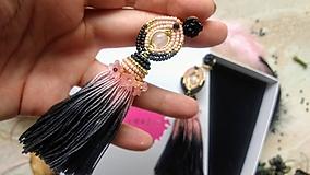 Náušnice - Pink ombre strapcove nausnice - 10747253_