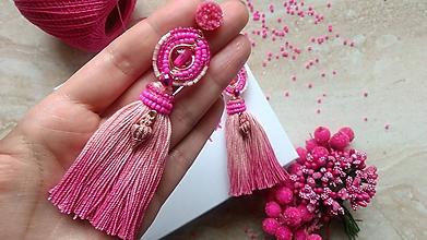 Náušnice - Pink ombre strapcove nausnice - 10747178_