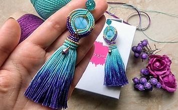 Náušnice - Turquoise ombre strapcove nausnice - 10747296_
