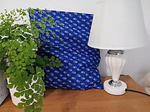 Úžitkový textil - Modrebiele kvetinky na vankusi - 10747660_