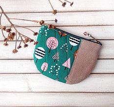 Peňaženky - Peňaženka Stromy na zelenej (s koženkou) - 10745767_