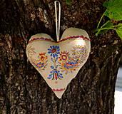 Dekorácie - FILKI folk maľované srdiečko s levanduľou - 10747454_