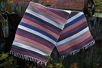 Úžitkový textil - Tkaný koberec hnedo-bordovo-modro-čierny - 10744965_