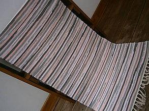 Úžitkový textil - tkany koberec sivo ruzovy - 10749353_
