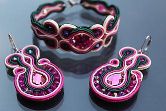 Sady šperkov - šujtášová súprava smaragdovozelená a fuchsia 2 - 10749616_