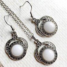 Sady šperkov - Filigree White Jade Silver Set / Sada šperkov s bielym jadeitom - 10749150_