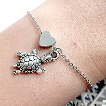 Náramky - Animal Heart Bracelet / Náramok so srdcom a príveskom (Korytnačka) - 10749266_