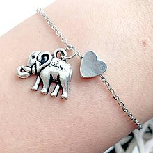 Náramky - Animal Heart Bracelet / Náramok so srdcom a príveskom (Slon) - 10749299_
