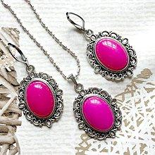 Sady šperkov - Filigree Pink Jade Antique Silver Set / Sada šperkov s ružovým jadeitom - 10749333_