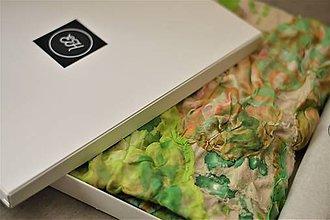 Šatky - PAULA - bavlnená šatka s aplikovaným hodvábom. - 10749723_