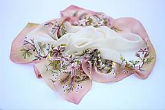 Šatky - Ručne maľovaná hodvábna šatka - Romantic - 10750113_