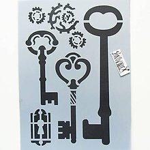 Pomôcky/Nástroje - Šablóna Stamperia - 15x20 cm - kľúče, keys, zámok - 10750161_