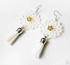 Náušnice - Elegantné biele čipkované náušnice so strapcami s kamienkom - 10751249_
