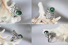 Prstene - Reliéfny strieborný prsteň s eilatským kameňom - Šum - 10748820_