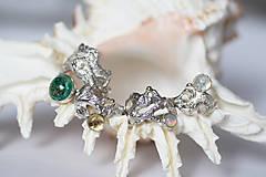 Prstene - Reliéfny strieborný prsteň so zlatou guličkou a s citrínom - Šum - 10748934_