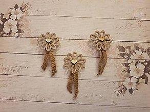 Pierka - vintage pierko z jutoviny s kvetom a  dreveným srdiečkom - 10749431_