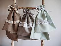 Úžitkový textil - Ľanové vrecká mentolové 2ks - 10750018_
