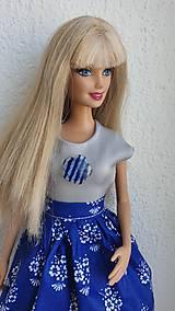 Hračky - Strieborné tričko pre Barbie - 10751074_