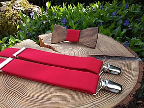 Doplnky - Pánsky set - drevený motýlik a traky - 10750603_