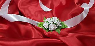 Náramky - Biely svadobný kvetinový náramok - 10749375_