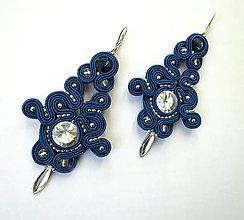 Náušnice - Modro - strieborné náušnice - 10749179_