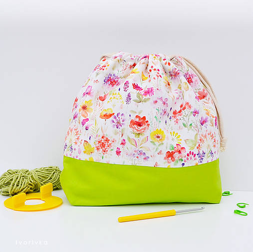 Kvetovaná tvoritaška ~ projektová taška na vaše tvorenie