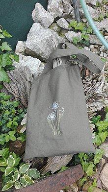 Nákupné tašky - Ľanová nákupná taška s výšivkou púpavy - 10750872_