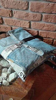 Kabelky - Rifľová recy taška na rameno ORIGINÁL - retro aktovka - 10751027_