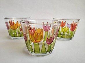 Svietidlá a sviečky - Sklenený svietnik tulipániky - 10749205_