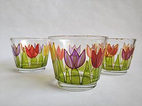 Svietidlá a sviečky - Sklenený svietnik tulipány - 10749229_