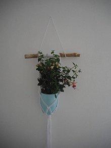 Drobnosti - Macrame biely kvetináčik - 10749207_