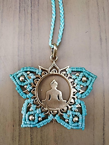 Náhrdelníky - Makramé mosadzný náhrdelník meditujuci Budha - 10750051_