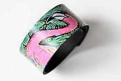 Náramky - Plameňák, kožený ručně malovaný náramek - 10751612_